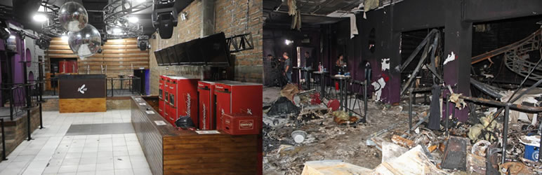 Boate Kiss antes e depois do incendio