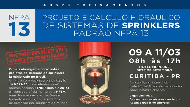 Evento ABSPK: Projeto e cálculo hidráulico de sistemas de Sprinklers padrão NFPA 13