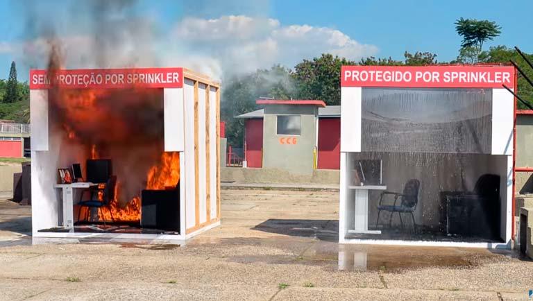 O sprinkler combate o incêndio em poucos segundos. Não há outra solução tão rápida